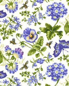 Botanical Blues - Garden Visitors - Eggshell