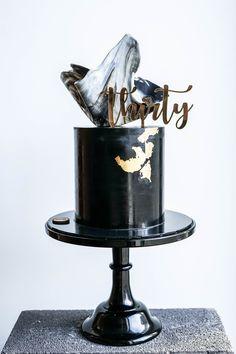 Don't Tell Charles - Black Ganache, Gold Leaf, Marble Chocolate Sail - A classy 30th birthday cake