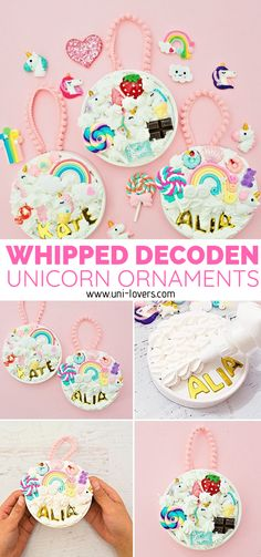 🦄 Whipped Glue Decoden Unicorn Ornaments.🦄 Make these magical ornaments with this fun whipped glue that pipes like frosting! #decoden #kawaii #unicorncrafts #unicorndiy #unicornparty Diy Crafts For Kids Easy, Christmas Crafts For Kids To Make, Holidays With Kids, How To Make Ornaments, Toddler Crafts, Holiday Crafts, Gifts For Kids, Kids Crafts, Kids Diy