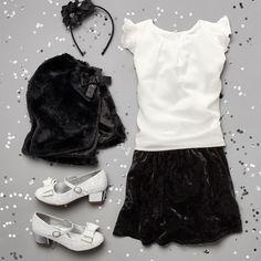 Girls' fashion | Kids' clothes | Ruffle top | Velvet skirt | Faux fur cape | Headband | Mini-heel | The Children's Place