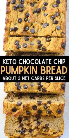This moist, flavorful Low Carb Chocolate Chip Pumpkin Bread has about 3 net carbs per slice! This is the perfect sweet snack or breakfast with a warm cup of coffee! #keto #pumpkin #lowcarb