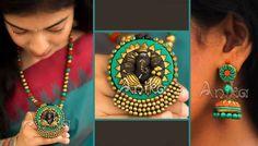 Quilling Jewelry, Clay Jewelry, Jewelry Art, Jewelry Design, Designer Jewelry, Handmade Necklaces, Handmade Jewelry, Biscuit, Teracotta Jewellery