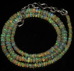 "40 Crts 1 Strands 3 to 6 mm 16"" Beads necklace Ethiopian Welo Fire Opal  A+1663"
