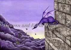 "Fantasy Dragon Art - ""Dizzy Heights"" - original watercolour fantasy artwork by Kirstin Mills Big Dragon, Celtic Dragon, Little Dragon, Dragon Art, Dragon Cross Stitch, Dragon's Lair, Cute Dragons, Fantasy Dragon, Illustrations"