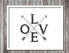 Minimalist Arrow Love Art Print - Inspirational Art - Motivational Print - Love - Arrows Art 8.5x11 Print - Ready to Frame - pinned by pin4etsy.com
