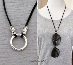 eyeglasses necklace, eyeglass holder, suede leather necklace, pick your colors, Eyeglass Loop Necklace, ring necklace that holds glasses