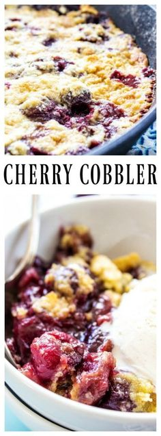 This CHERRY COBBLER RECIPE is the best ever. It is a deliciously simple way to enjoy fresh cherries without too much work. Cherry Recipes, My Recipes, Sweet Recipes, Cooking Recipes, Favorite Recipes, Recipies, Cherry Desserts, Skillet Recipes, Summer Recipes