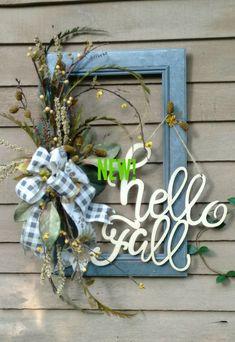 Fall Frame Wreath Galvanized Look Frame Wreath Script Font Fall Wreath Gray Gingham Farmhouse Wreath Front Door Wreath Fall Wall Decor Picture Frame Wreath, Picture Frame Crafts, Window Frame Crafts, Craft Frames, Frames Decor, Diy Wreath, Wreath Fall, Wreath Ideas, Summer Wreath