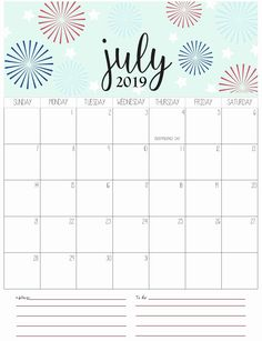 Free February 2019 Calendar Large Spaces 81 Best July 2019 Calendars images