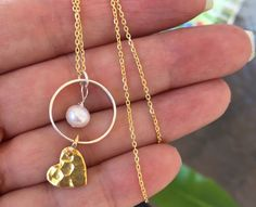 Eternity Circle Heart Necklace with Pearl-Gold Heart Necklace-Heart Jewelry-Sterling Silver Circle- Pearl Necklace-Gifts for Mom,Sister,Wife
