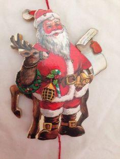 Vintage Wooden Santa W Deer List PULL STRING Toy Ornament JUMPING JACK