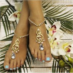 GRACE  barefoot sandals - gold pearls