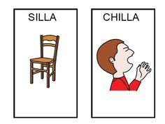 ¿silla? ¿chilla? Oposiciones Fonológicas /s/-/ch/ Speech Therapy Activities, Family Guy, App, Comics, School, Autism, Spanish, Vocabulary, Speech Pathology