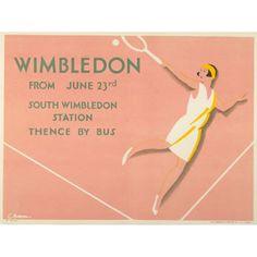 Wimbledon Tennis 1929 Damen Print Poster drucken 8 x 10 - Décoration - Transport Wimbledon Tennis, Wimbledon London, Tennis Posters, Sports Posters, London Transport Museum, London Poster, Saul Bass, Vintage Tennis, Tennis Tournaments