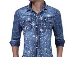 b28955b5d1 SALE Brand 2018 Fashion Male Shirt Long-Sleeves High Quality Five - Star  Prints Denim