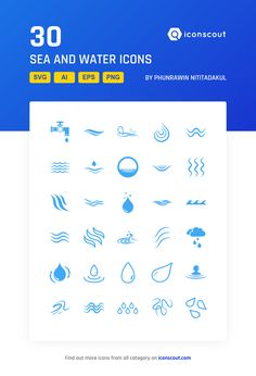 Sea And Water Icon Pack - 30 Flat Icons icon Spring Logo, Icon Package, Water Symbol, Water Icon, Flat Icons, More Icon, Signature Design, Icon Font, Small Tattoos