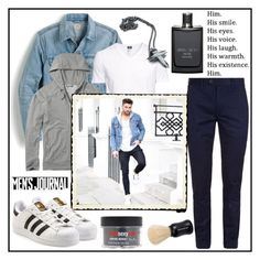 """""""HIM!!!"""" by kskafida ❤ liked on Polyvore featuring J.Crew, adidas Originals, H&M, Ted Baker, Sexy Hair, Men's Society, Jimmy Choo, Kasun, men's fashion and menswear"""