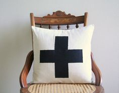 "black linen swiss cross throw pillow cover  / 16"" x 16""  / natural / farmhouse / accent pillow / rustic / dorm decor / home decor"
