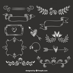 Lettering Set of ribbons, frames and arrows in blackboard style. Free vector How To Wear A Hawaiian Chalkboard Doodles, Chalkboard Vector, Chalkboard Lettering, Chalkboard Designs, Chalkboard Frames, Creation Album Photo, Diy Album Photo, Album Photo Scrapbooking, Scrapbook Albums