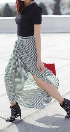 Crop top + stripes skirt
