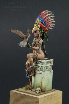 Girl with a bird by Aleksander Kursov · Putty&Paint Sculpture Art, Sculptures, Character Art, Character Design, Aztec Warrior, Aztec Art, Modelos 3d, Chicano Art, Fantasy Miniatures