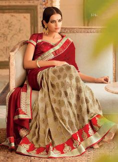 Give in to the exotic confluence of today and tomorrow in this beautiful attire. Add grace and charm to your appearance in this beautiful cream and red faux chiffon and viscose designer saree. The ethnic embroidered and patch border work on the attire adds a sign of beauty statement to your look. Comes with matching blouse. (slight variation in color, fabric & work is possible. Model images are only representative.)