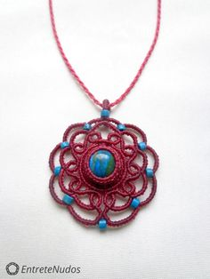 Fine little mandala-flower macrame necklace with a gorgeous turquoise Opal stone and Crisocola stone beads