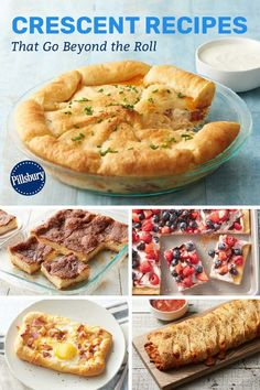 There's so much you can do with that roll of Pillsbury crescents! These recipes prove that you can jump-start any meal with a can of crescents. Recipe Using Pillsbury Crescent Rolls, Crescent Dough Sheet Recipes, Pillsbury Crescent Roll Recipes, Pillsbury Biscuit Recipes, Pilsbury Recipes, Pillsbury Dough, Cresent Rolls, Pillsbury Croissant, Creasant Roll Recipes
