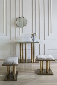 KELLY WEARSTLER | HOLMBY STOOL. Burnished brass asymmetrical columns, upholstered with Shearling