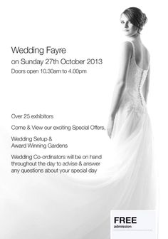 By Ye Olde Plough House @YeOldePlough Looking for a venue to host your Wedding? Why not come along to our Wedding Fayre on Sunday 27th October 2013. http://www.yeoldeploughhouse.co.uk/