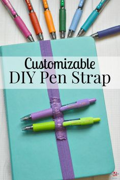Keep favorite pens with your journal or planner by making a DIY Pen Strap. Carry 1 pen or as many as you want. Make it in a coordinating or favorite color. Diy Arts And Crafts, Diy Craft Projects, Craft Tutorials, Craft Ideas, Sewing Projects, Diy Crafts, Organization Bullet Journal, Planner Organization, Organizing Tips