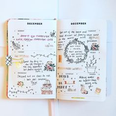 """88 Likes, 6 Comments - @lilylovesplanning on Instagram: """"Don't go through life, grow through life.  #journal #journaling #artjournal #doodles #drawing…"""""""