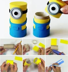 and then get crafty and have kids make their own Minions to take home. 13 Minions Party Ideas For The Ultimate Despicable Me 3 Birthday Party Minion Birthday, Minion Party, Cardboard Tubes, Cardboard Crafts, Toilet Paper Roll Crafts, Paper Crafts, Diy For Kids, Crafts For Kids, Fun Crafts