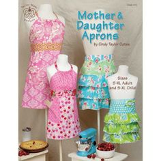 The Mother & Daughter Aprons Pattern Book from Taylor Made Designs includes full size patterns, diagrams, and instructions for 4 apron styles.  Patterns are folded inside a 12 page softcover book.  Pattern pieces are printed on quality paper stock for lasting value.  Apron patterns are multi-sized for a flattering fit.