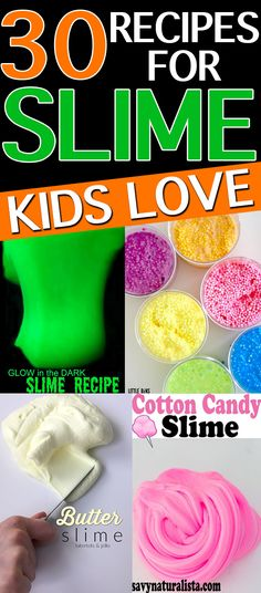 30 Slime recipes kids will LOVE. Looking to beat kid boredom? These slime recipes are perfect for spring break, winter break, and the summer to keep your kids busy. Borax-free slime recipes included. #slime #slimerecipe #kidsactivities #kids