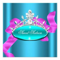 Sweet 16 Sixteen Teal Blue Pink Diamonds Image Personalized Invite