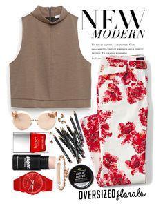 """Veris Flora"" by modern-instinct ❤ liked on Polyvore featuring Zara, Lands' End, Linda Farrow, Bobbi Brown Cosmetics, Swatch, Butter London, Hoorsenbuhs, modern, floralprint and pant"