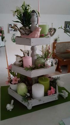 Learn how to make Easy Dollar Store Easter Decorations for the Home - Tiered Trays! These are the perfect Spring decorations you can make on a budget to brighten up you home! 3 Tier Stand, Tiered Stand, Diy Easter Decorations, Table Decorations, Diy Osterschmuck, Seasonal Decor, Holiday Decor, Cactus Y Suculentas, Tray Decor