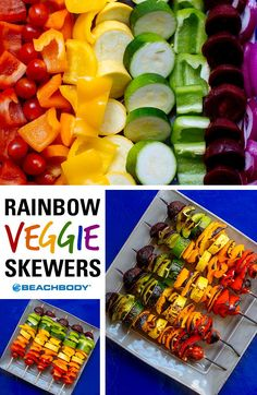 With red tomatoes and peppers, orange and yellow peppers, yellow and green summer squash, green peppers, purple beets and red onions, these veggie skewers show off the whole rainbow spectrum. Make them to brighten up your next cookout! // Beachbody // BeachbodyBlog.com