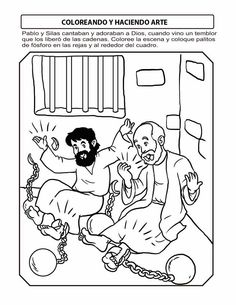 32 Paul and Silas In Jail Coloring Page Bible Story Crafts, Bible Crafts For Kids, Bible Lessons For Kids, Bible Stories, Vbs Crafts, Nemo Coloring Pages, School Coloring Pages, Bible Coloring Pages, Coloring Books