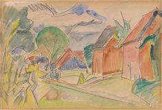 Erich Heckel, Dorfstraße, 1914, Auktion 910 Moderne Kunst, Lot 132 #diebruecke #thebridge