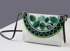 """Купить Сумочка кожаная """"Мохито"""", вышивка бисером. - орнамент, вечерняя сумочка, театральная сумочка"""