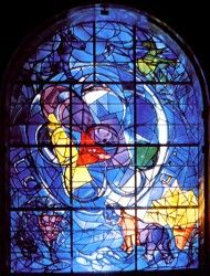 The twelve windows were created by Marc Chagall for the Synagogue of the Hadassah hospital in Jerusalem, which opened on 6th February 1962. They symbolize the twelve sons of Jacob, which made the twelve tribes of Israel