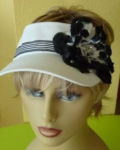 Ladies White Sun Visor with Black and White Flower by ArtsyTreats