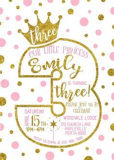 3er invitación de cumpleaños princesa 3rd cumpleaños | Etsy Peppa Pig Invitations, Princess Birthday Invitations, Party Invitations, Invitation Ideas, Girls 3rd Birthday, Minnie Birthday, Baby Birthday, Pink Princess Party, Colorful Party