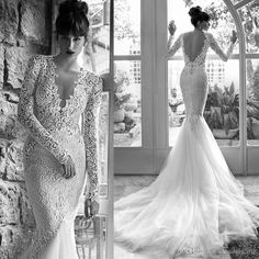 2016 Sexy Russian Wedding Dresses Mermaid Long Sleeves V Neck Lace Backless Bridal Gowns Pearls Engagement Dress Mermaid Wedding Dresses Bridal Gowns 2016 Mermaid Dress Online with $212.56/Piece on Yahuifang2016's Store | DHgate.com