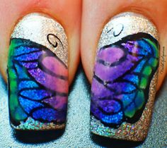 Happy Landing Butterfly LeadLight Design and Video Tutorial Butterfly Nail Art, Pretty Nail Art, Glitter Nail Art, Cute Creatures, Ladybug, Nail Art Designs, Landing, Nailart, Bling