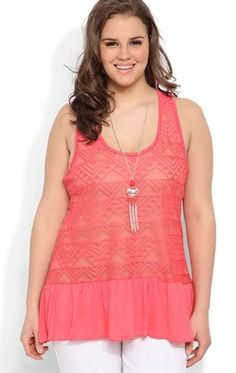 Deb ShopsPlus Size Tunic Tank with Ruffle Crochet Front and Owl Necklace $21