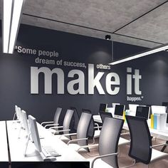 Happy Monday Quotes Discover Make it Happen Office Wall Art PVC Typography Decor Inspirational Motivational Work Sucess Decals Stickers - SKU:OMIH Corporate Office Design, Office Wall Design, Office Branding, Modern Office Design, Workspace Design, Office Wall Decor, Office Walls, Office Art, Office Designs