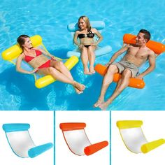 Inflatable Water Hammock Floating Bed Lounge Chair Drifter Swimming Pool Beach Float Chair for Adult XR-Hot Pool Lounge Float, Pool Lounge Chairs, Beach Chairs, Dining Chairs, Portable Swimming Pools, Swimming Pool Toys, Floating Chair, Floating In Water, Floating Lounge